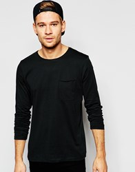 Selected Homme Long Sleeve Top With Raw Edge Black