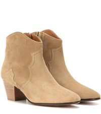 Isabel Marant Etoile Dicker Suede Ankle Boots Beige