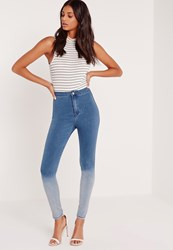 Missguided Ombre High Waisted Skinny Jeans Indigo Blue Blue