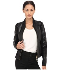 Versace Leather Jacket Nero Women's Coat Black
