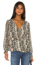 Cupcakes And Cashmere Jasper Wrap Blouse In Dark Green Brown. Deep Forest