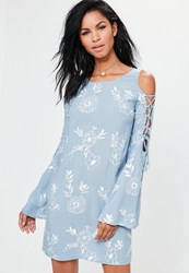Missguided Blue Embroidered Lace Up Sleeve Swing Dress