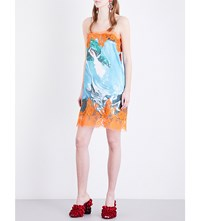 Mimi Wade Sea Monster Print Silk Satin Slip Dress Digital Print