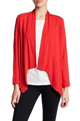 Bobeau Open Front Woven Jacket Petite Red