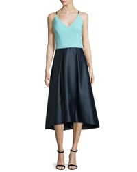 Phoebe Couture Sleeveless Fit And Flare Combo Dress Navy Teal