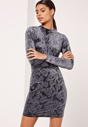 Missguided Velvet High Neck Open Back Paisley Print Dress Grey