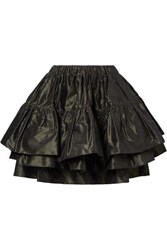 Miu Miu Layered Silk Taffeta Mini Skirt Forest Green