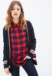 Forever 21 Collared Plaid Blouse Red Royal
