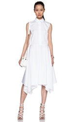 Adam By Adam Lippes Adam Lippes Collared Cotton Shirt Dress With Scarf Hem In White