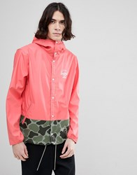 Herschel Supply Co Forecast Hooded Jacket Rubberised Showerproof In Pink With Camo Print Detail Georgia Peach