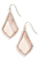Kendra Scott Women's Alex Pave Drop Earrings Peach Clear Glass Rose Gold