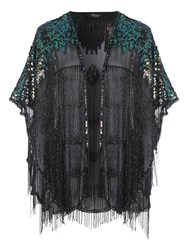 Jane Norman Embellished Fringe Shawl Black