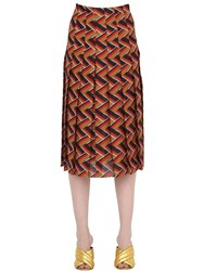 Gucci Chevron Silk And Wool Georgette Skirt