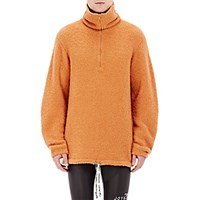 Maison Martin Margiela Men's Fuzzy Mock Turtleneck Sweater Orange