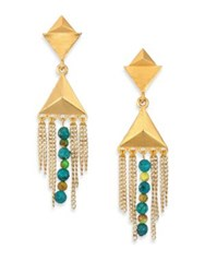 Stephanie Kantis Dimension Green Turquoise Howlite And Blue Turquoise Howlite Drop Earrings