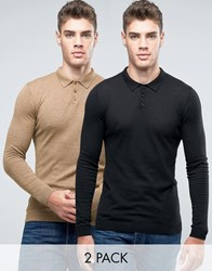 Asos Knitted Polo Jumper 2 Pack Mustard Twist Black Multi