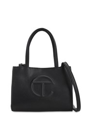 Telfar Small Embossed Faux Leather Tote Bag Black