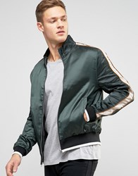 New Look Sateen Funnel Bomber Green Navy