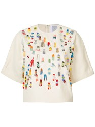 Rosie Assoulin Beaded Applique T Shirt White