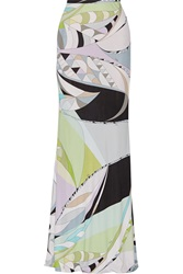 Emilio Pucci Printed Jersey Maxi Skirt Brown