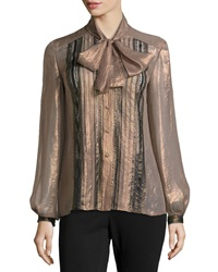 Philosophy Di Alberta Ferretti Metallic Lace Blouse Gold