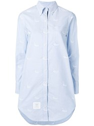 Thom Browne Embroidered Light Blue Shirtdress