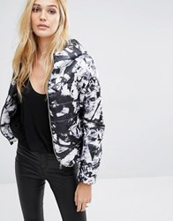 Noisy May Padded Jacket In Shattered Print Black And Print Multi
