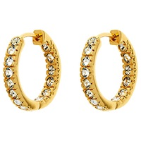 Finesse Gold Plated Cubic Zirconia Hoop Earrings Gold