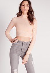 Missguided Turtle Neck Neppy Crop Top Nude Peach
