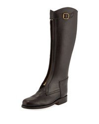 Chufy Zip Front Leather Riding Boot Brown