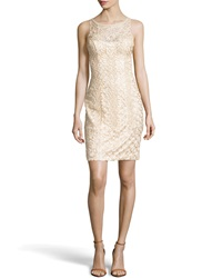 Sue Wong Beaded Scoop Back Cocktail Dress Champagne