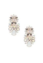 Forever 21 Rhinestone Petal Chandelier Earrings White Gold