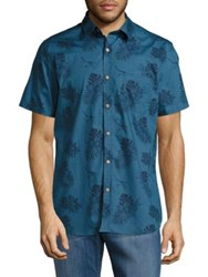 Sovereign Code Banky Tropical Print Button Down Shirt Turquoise
