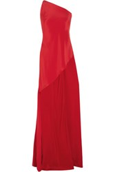 Juan Carlos Obando Magnolia One Shoulder Silk Crepe Blouse Crimson