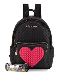 Betsey Johnson Buy A Vowel Quilted Faux Leather Backpack Black