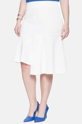 Eloquii Asymmetrical Ruffle Fluted Skirt Plus Size White