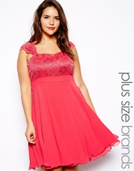 Lipstick Boutique Plus Lace Bodice Skater Dress Coral