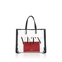 Valentino Garavani Grande Plage Small Pvc And Leather Tote Bag Black