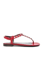 Balenciaga Giant Stud T Strap Leather Sandals In Red