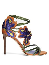 Jimmy Choo Lolita 100Mm Flower Applique Leather Sandals Tan Multi