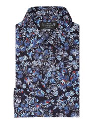 New And Lingwood Hornbeam Floral Print Shirt Navy
