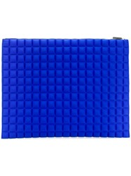 No Ka' Oi Extra Large Grid Textured Pouch Blue
