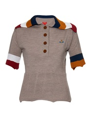 Vivienne Westwood Contrast Striped Collar Knit Polo Shirt