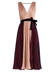 Roksanda Ilincic Kora Tri Colour Pleated Satin Dress