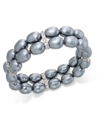 Charter Club Silver Tone Imitation Pearl Pave Stretch Bracelet Only At Macy's