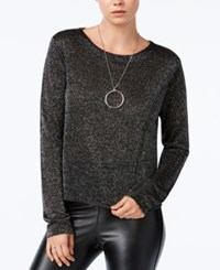 Bar Iii Cropped Metallic Knit Top Only At Macy's Black Combo