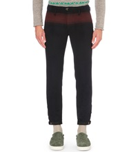Kolor Tapered Wool And Cashmere Blend Trousers Navy Redish Brown