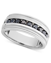 Macy's Men's Sterling Silver Ring Black Diamond Band 1 Ct. T.W.