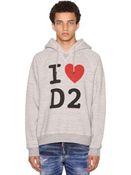 Dsquared Print Cool Raglan Cotton Jersey Hoodie Heather Grey