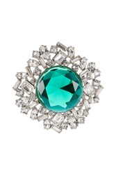 Kenneth Jay Lane Crystal Brooch With Faceted Stone Green